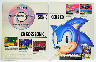 Sonic CD for Sega CD 1993 vintage video game two-page Print Ad