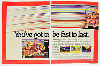 Street Fighter II Turbo for Super NES 1993 vintage video game two-page Print Ad