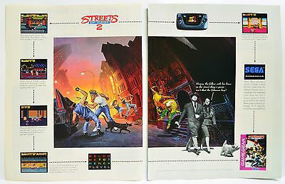 Streets of Rage 2 for Sega Game Gear 1993 vintage video game two-page Print Ad
