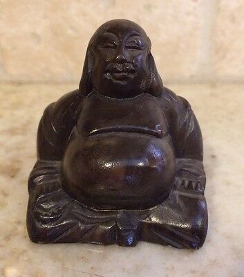 Vintage Carved Mahogany Budai Fat Buddha Figurine Good Luck Belly Lucky Sitting