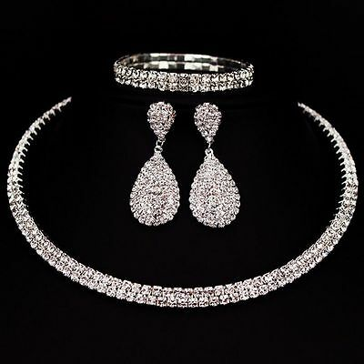Crystal Diamond Choker Necklace Earrings and Bracelet Wedding Jewelry Set