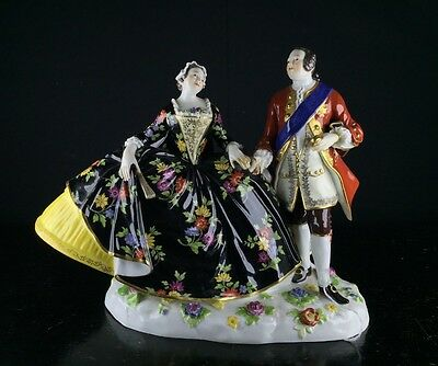 Large Meissen group of a courting couple, 19th century