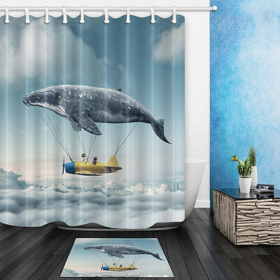Flying whale Waterproof Polyester-Fabric Shower Curtain & Bath mat 180*180cm