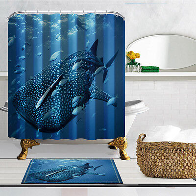3D Whale shark Animal Design Shower Curtain Bathroom Waterproof Fabric & 12hooks