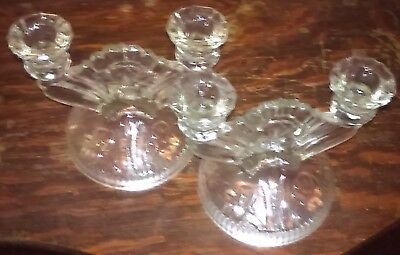 "*ice* Pair Of Glass Candlesticks In ""iris"" Pattern"
