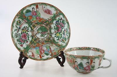 CHINESE ANTIQUE 19thc. QING FAMILLE ROSE EXPORT WARE CUP AND SAUCER