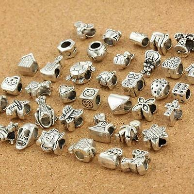 40Pcs Tibetan Silver Plated Mix Dangle Charm Beads Fit European Charms Bracelet