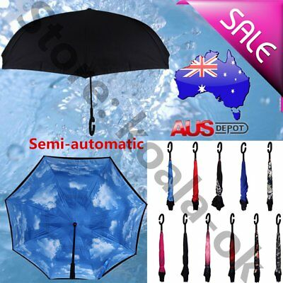 Windproof Big dual Layer Upside Down Inside Inverted Umbrella Reverse C-Handle