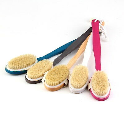 Natural Long Wood Wooden Body Brush Massager Bath Shower Back Spa Scrubber TS