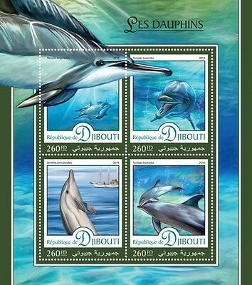 Z08 IMPERFORATED DJB16402a DJIBOUTI 2016 Dolphins MNH