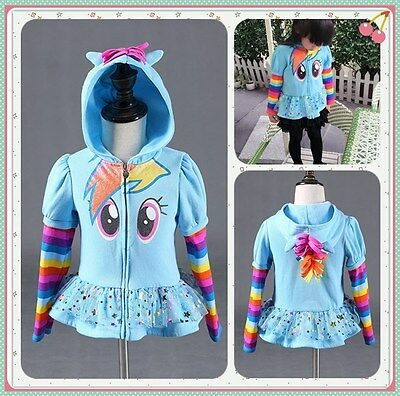 New Girl's My Little Pony Hoodie Wings Kids Sweater Twilight Rainbow Dash Jacket