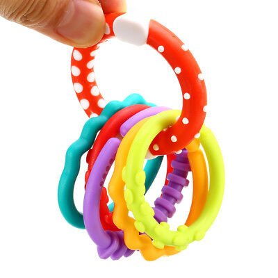 6Pcs Removable Mixcolors Chewy Baby Kids Activity Rings Links Teether Kids Toys