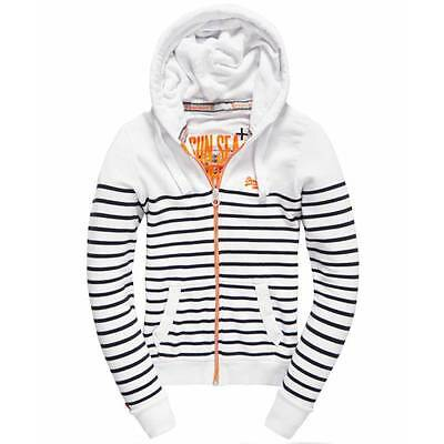 Sweat Superdry Sun & Sea Zip femme white / navy stripe