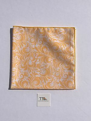 Yellow Paisley Pocket Square with Yellow Trim