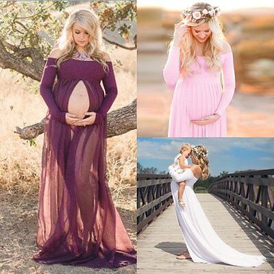 Pregnant Women Long Maxi Dress Chiffon Maternity Gown Photography Props Clothes