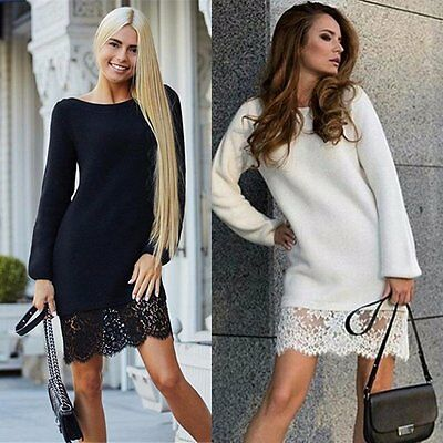 Women Ladies Long Sleeve Lace Tunic Bodycon Bottoming Party Casual Mini Dress UK
