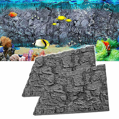2x 3D Foam Rock Reptile Stone Aquarium Background Backdrop Fish Tank Board Decor