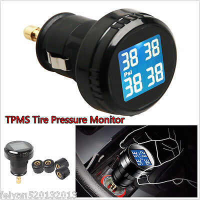 Car Tire Pressure LCD Display TPMS Monitoring System Wireless 4 External Sensors