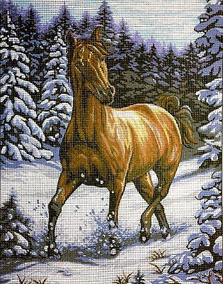 "Needlepoint Kit Gobelin Tapestry  ""Horse""  printed canvas 328"