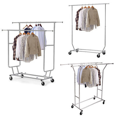 Heavy Duty Single/Double Adjustable Garment Rack Shelf Clothes Hanger Rail Wheel