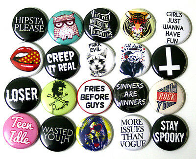 """Mixed On Trend Youth Fashion BADGES Buttons Pins x 20 Creep it Real 25mm 1"""""""