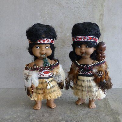 Retro Maori Dolls 1970s New Zealand Feather Cloak Mother with Baby Tattoo Face