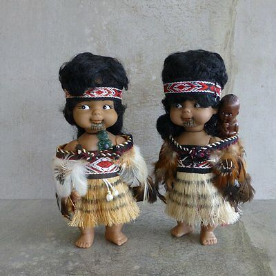 Vintage Maori Dolls 1970s New Zealand Feather Cloak Mother with Baby Tattoo Face
