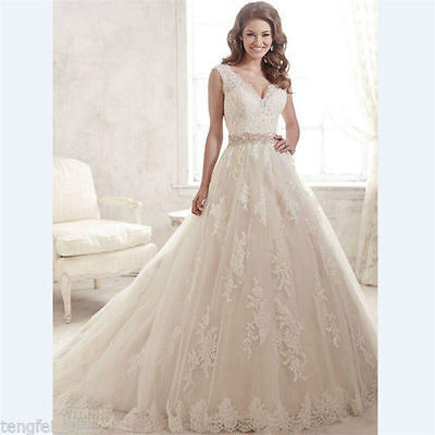 White Ivory Lace Bridal Gown Wedding Dress Custom Size : 2 4 6 8 10 12 14 16 18