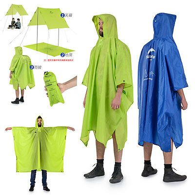 3 in 1 Ripstop Poncho Raincoat Groundsheet Backpack Cape Shelter Hooded
