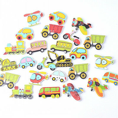 50pcs/lot Mixed Wood Cars And Air Sewing Children Buttons Scrapbook Crafts