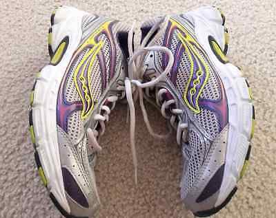 Saucony Cohesion 7 Athletic Running Shoes Used Women's US 8 Gray Purple White