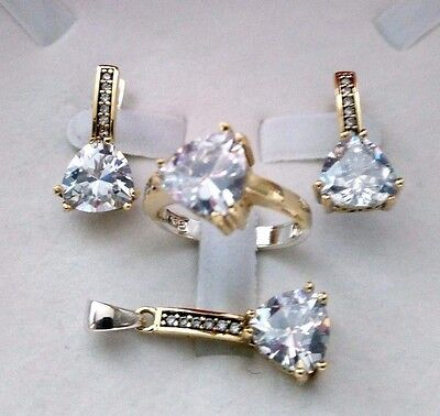 925 Sterling Silver Turkish Handmade Jewelry White Topaz Lady Set Ring Size 8.5
