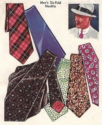 Vintage 1930's 40's Sewing Pattern Men's Six Fold Necktie Tie Ties WWII WW2