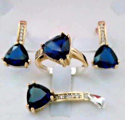 925 Sterling Silver Turkish Handmade Jewelry Blue Sapphire Lady Set Ring Size 7