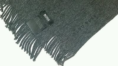 "HUGO BOSS Mens Scarf, Grey,  100% Authentic, 100% Wool , 5' Long, 12"" Wide"