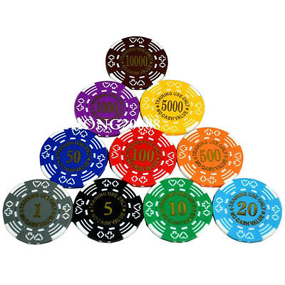 Poker Set Chips Case Chip New 500 Aluminum Cards Dice 5 Texas Clay Pick Hold Em