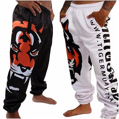 Tiger Training Pants MMA Muay Thai Kick Boxing Fight Trainings White Black Men