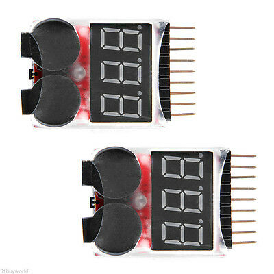 2x Lipo Alarm Piezo Tester Low Voltage Buzzer Checker Warner Akku Saver Spannung