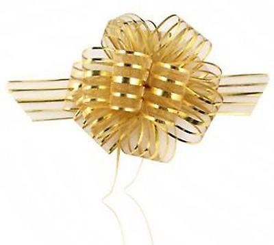 100Pc 50mm GOLD Organza Pull Bows Party Wedding Car Decoration Gift Wrap