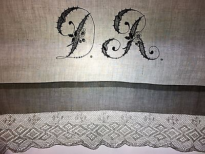 Couple Bed Sheet. Linen Ebbroidered. Bobin Lace. Spain. Xix-Xx