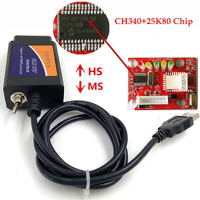 ELM327 USB V1.5 Modified ELMconfig CH340+25K80 Chip For HS-CAN / MS-CAN Forscan