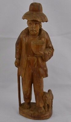 Vintage Wood Carved Old Man Carrying Bowl with Dog and Cane Italian?