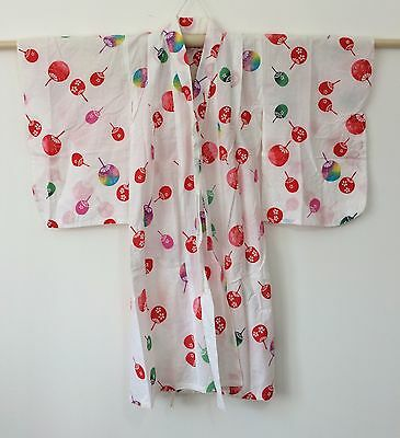 Authentic Japanese summer yukata kimono for 3-4 year old girls, good c. (H1195)