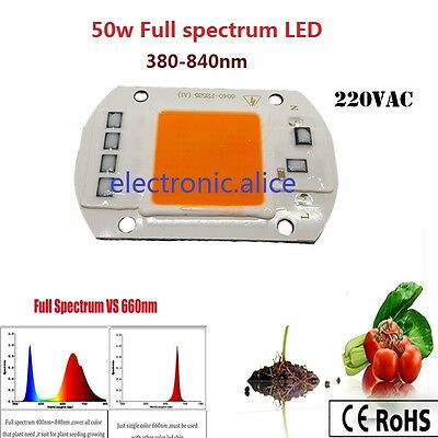 2 X 50W 380NM-840NM Full Spectrum LED COB Chip, Integrated Smart IC Driver 220V