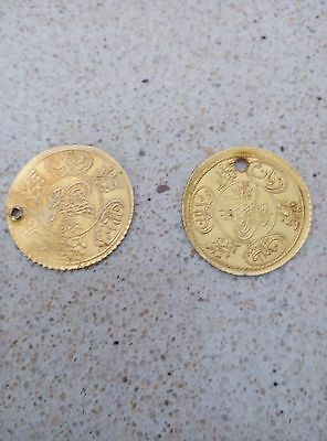 Old Arabic script, two coins  , 21k solid yellow gold  1.8 grams each