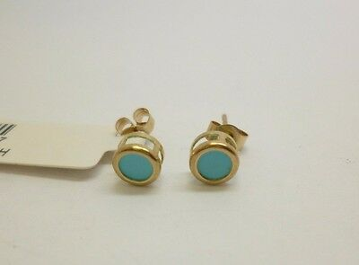 9ct yellow gold turquoise stone set stud earrings measuring a diameter of 5 mm