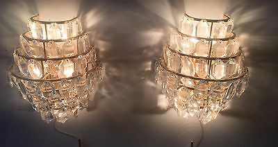 Pair Crystal Glass XL Design Sconce Bakalowits Lobmeyr  60s 70s Wandlampen Gild