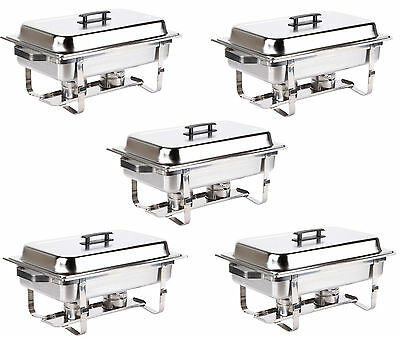 5 Pack Catering Stainless Steel Chafer Chafing Dish Set 8 Qt Full Size Buffet