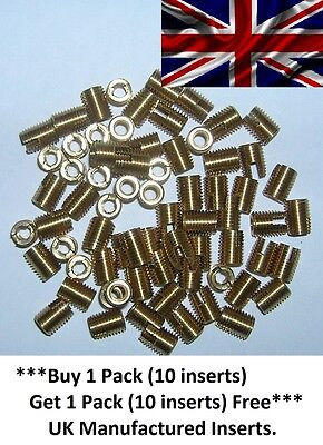 M5 x 8mm Solid Brass threaded Self Tapping Slotted Screw-in inserts for Plastic