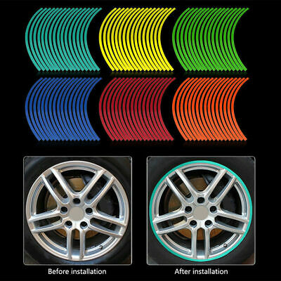 "Universal Reflective Motorcycle Car 17""-19"" Rim Stripe Wheel Tape Decal Stickers"